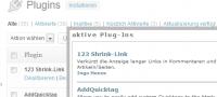 WordPress Dashboard / Plug-Anzeige